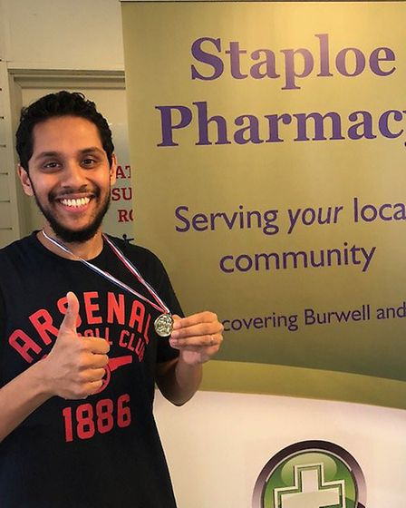 Staploe Medical Centre fund raising challenge: Naz Khan - Pharmacist after completing the first sysl