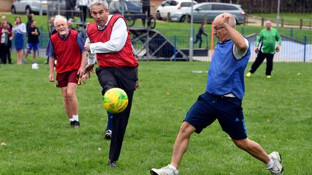 Steve Barclay MP playing football outside the George Campbell Leisure Centre in March. Picture: STEV