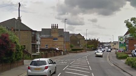 Dartford Road, March, where a young cyclist had a lucky escape after pulling out in front of two car