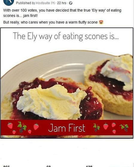 Jam first or cream? The Ely way of eating scones causes a stir on social media. Picture: 11a Forehil