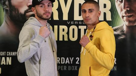 Jordan Gill (right) with Commonwealth title fight opponent Ryan Doyle.