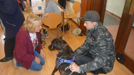 Mayor of Ely Mike Rouse meeting with K9 Café founder Chris Kent at the Ely Cathedral Centre on Thurs