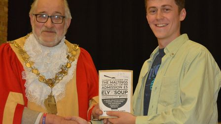 Stan Hickish bid successfully at the seventh Ely SOUP for his project to provide a new skate park in