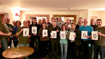 Cheques handed over to charity as Wilburton Beer Festival say cheers to successful year. Picture: Su