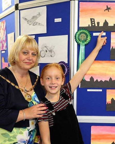 Some of the winners and finalists of this year's Whittlesey Festival schools art competition.