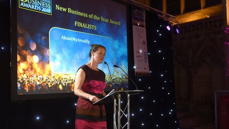 Ely Standard East Cambs Business Awards 2018 and our host Sue Dougan 'conducts' proceedings in the L