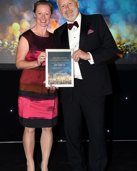 Ely Standard East Cambs Business Awards 2018Sue Dougan with Nick Flack of N & C Glass.