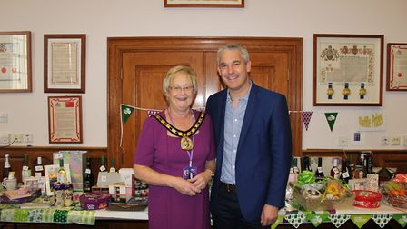 Fenland District Council Chairman, Cllr Kay Mayor with NE Cambs MP Steve Barclay at a Macmillan coff