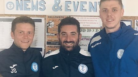 Chatteris Town boss Alex Kaufman with new signings Jack Saunders (left) and Ben Matthews (right). Pi