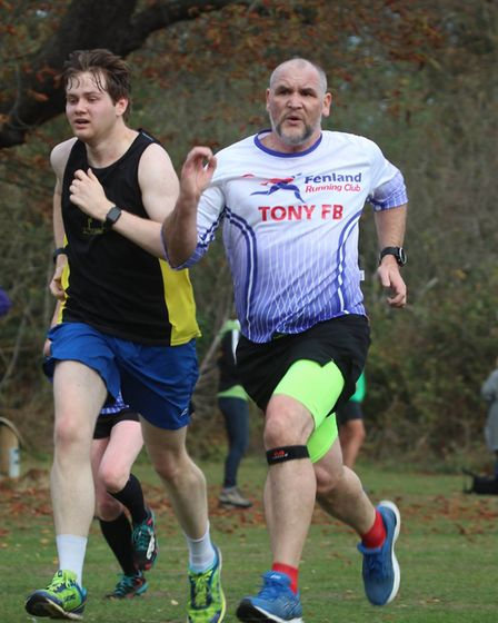 Tony Foice-Beard of the Fenland Running Club at the Frostbite Friendly League's 30th Anniversary Rac