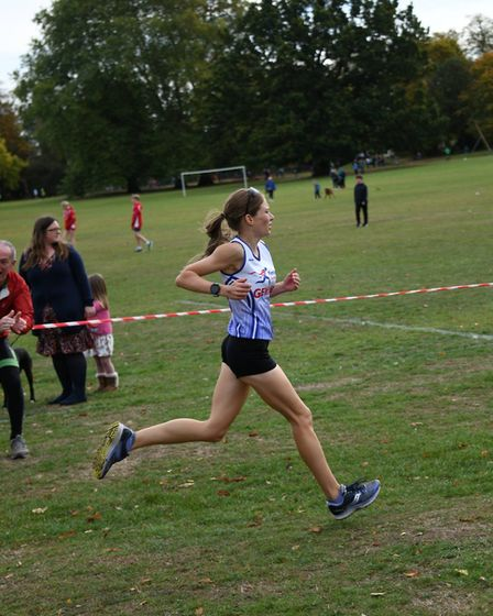 Gemma Rose of the Fenland Running Club at the Frostbite Friendly League's 30th Anniversary Race. Pic