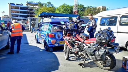 """Chatteris to Tokyo: Dan and Dave board ferry to Japan after """"completing"""" Russia. Picture: CHATTERIS2"""
