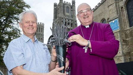 Arthur McClelland, member of the Ely Cathedral Harvest Committee, and the Bishop of Ely Right Revere
