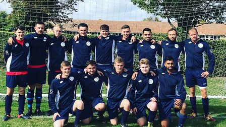 The Mepal Sports Football Club squad with their new warm-up jackets courtesy of Ely-based Soopa Doop