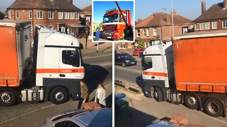 Footage shows another lorry mounting the pavement at the Wisbech Road mini-roundabout in March. Pict