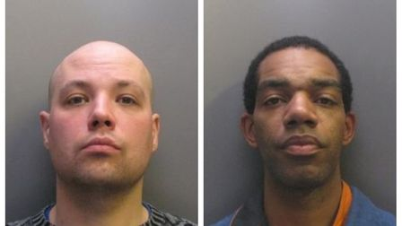 Two burglars, John McCarthy (left) and Richard Leslie (right) who used a sledgehammer to attack thei