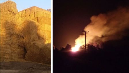 The fire at Stretham on Friday October 5: Left is how the stack was in August and right, the blaze.