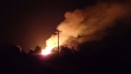 The fire at Stretham on Friday October 5: 25 firefighters were needed to tackle the blaze.. Arrests