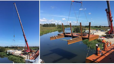 New photos of Ely Bypass from last week showing the new walkway being lifted up in place. Photo: @Ca