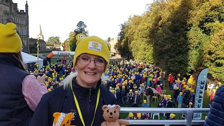 Pudsey ramblers take to the streets of Ely to raise funds for Children in Need. Pictured here is Lit