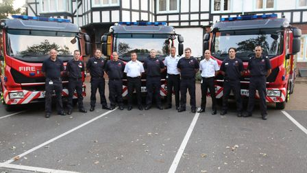 Crews with the three new fire engines to be trialled by on-call firefighters in March, Ely and St Ne