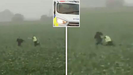 Weve secured dramatic footage of the moment suspected rapist from March is caught by sprinting polic