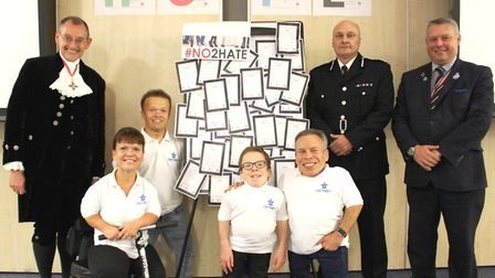 (Left to right) Back row: Dr Andrew Harter (High Sheriff), Chief Constable Nick Dean (Cambs Constab