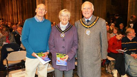 Cllr Peter Cresswell, chairman of East Cambs District Council, Rosilyn and John Wintle, who commissi