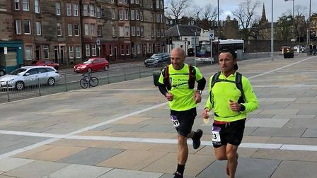 March Athletic Club Dave Burgess (right) and Alan Brown in the Edinburgh ultra