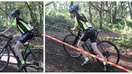 Isaac Barton climbing one of the many steep climbs at Mistley (right) and racing through the woods