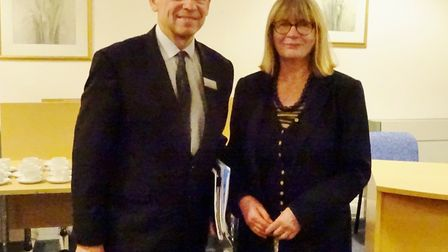 Alan Neville from Greater Anglia with Jennifer Lawler of The March Society. Picture: SUBMITTED
