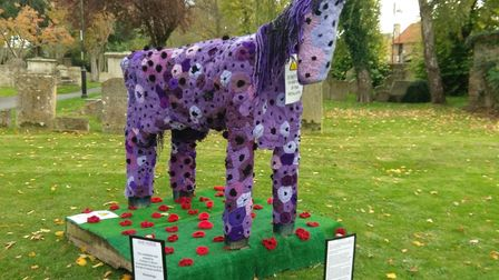 Chatteris In Bloom create a purple poppy war horse to commemorate the 100th annivesary of the end of