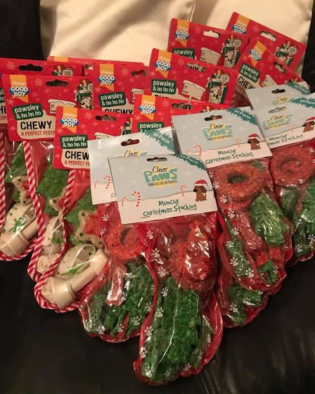 Treats for dogs this Chrismtas with Team Poundie national charity. Emma Chapman is collecting boxes