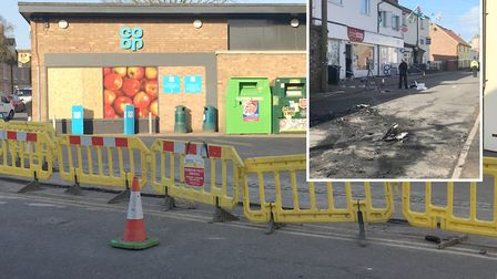 The scene from the attempted ram raid on Isleham Co-op in April. PHOTO: John Elworthy.