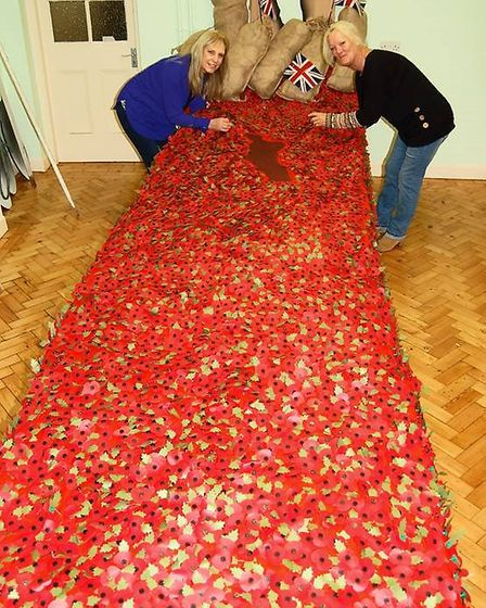 Volunteers completing the poppy cascade. Picture: CONTRIBUTED