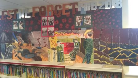 The painting are on display in the Dunmow Library. Picture: CONTRIBUTED