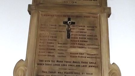 War memorial in St Peter's Church, Broad Street, Ely. The church is offering people the opportunity