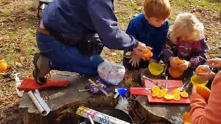 Roaring camp fires and building dens make for All4Sports forest school fun. Picture: ALL4SPORTS FACE