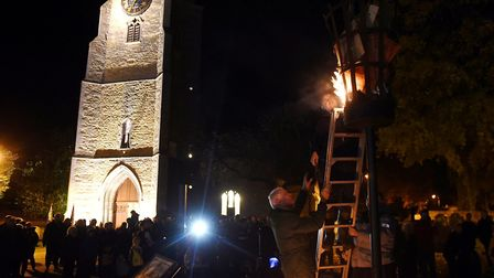 Lighting of Chatteris beacon for Remembrance Sunday 2018. Picture: IAN CARTER.