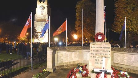 Chatteris War memorial with one of its flags missing. It is believed to have been taken on Saturday