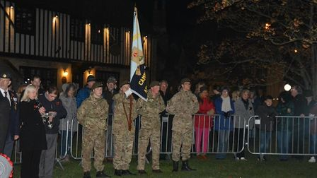 Ely remembers: Outside St Mary's the city's new beacon was lit to commemorate the ending of the Grea