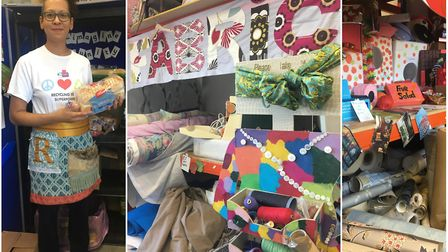 Bunting draped from the ceiling, rolls of fabric, wallpaper, cards, buttons, ribbon, paint and stick