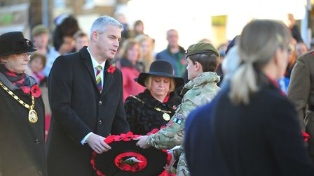 Steve Barclay MP at the remembrance day commemoration last Sunday at Whittlesey . Picture: HARRY RUT