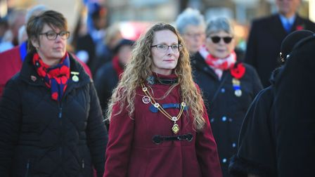 Crowds lined the pavements as the Peterborough Highland Pipe Band led the Whittlesey Remembrance Day