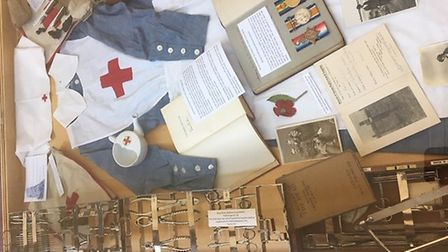 Exhibitions and displays at Ely Library for Armistice Day. Picture: MARJORIE CASEY.