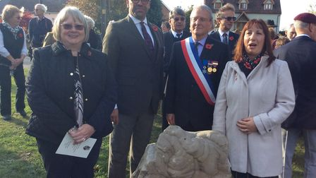 L-R: Jacinta Smith, MP James Cleverly, Verberie mayor Michel Arnould and Ann Hooks in front of the s