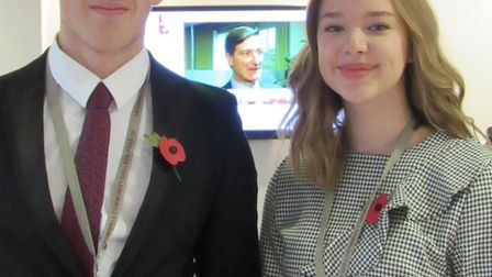 James Kelly and Evie Bedford, senior head boy and girl at Cromwell Community College.