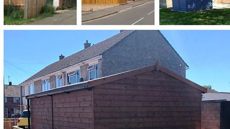 Bottom and middle top: The shed in Papworth Road, March, under fire from planners. Top L and R examp