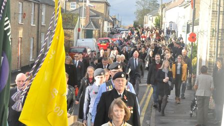 The Remembrance Sunday parade in the morning from the Royal British Legion to the church saw more th