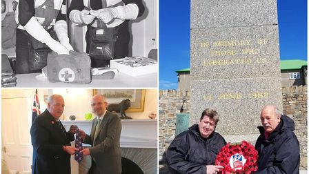 Blind veteran David Atkinson, 64, from Soham has returned to the Falkland Islands on the largest RAF
